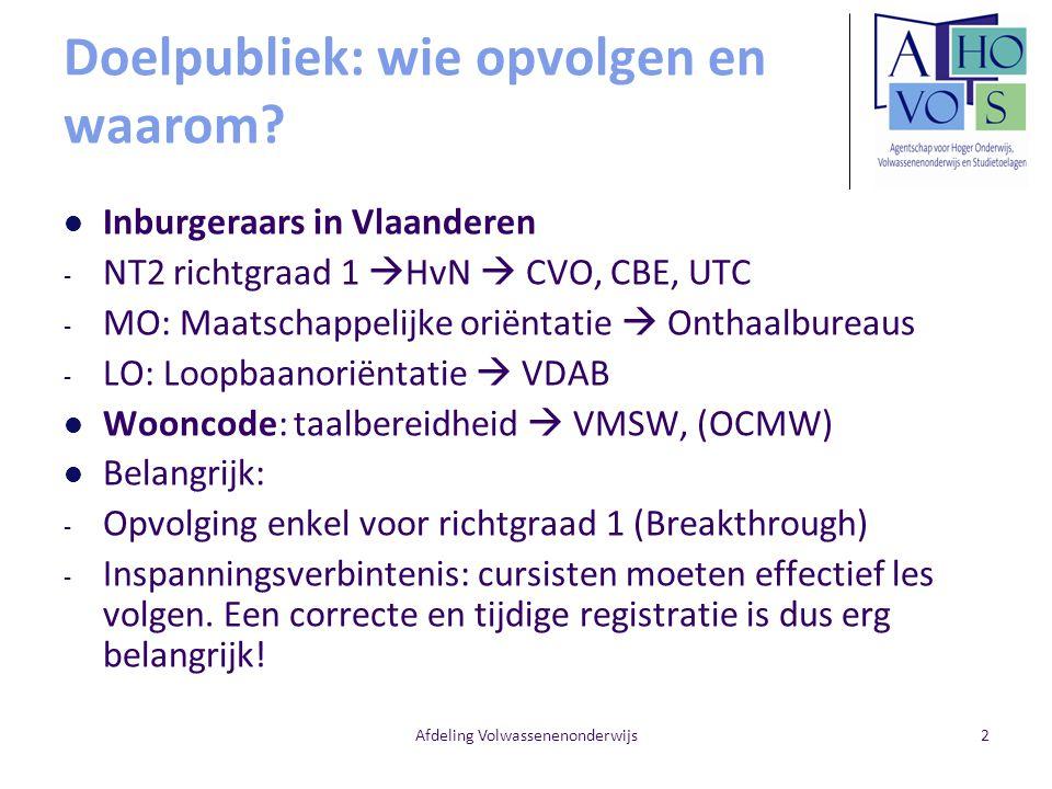 Afdeling Volwassenenonderwijs2 Doelpubliek: wie opvolgen en waarom? Inburgeraars in Vlaanderen - NT2 richtgraad 1  HvN  CVO, CBE, UTC - MO: Maatscha