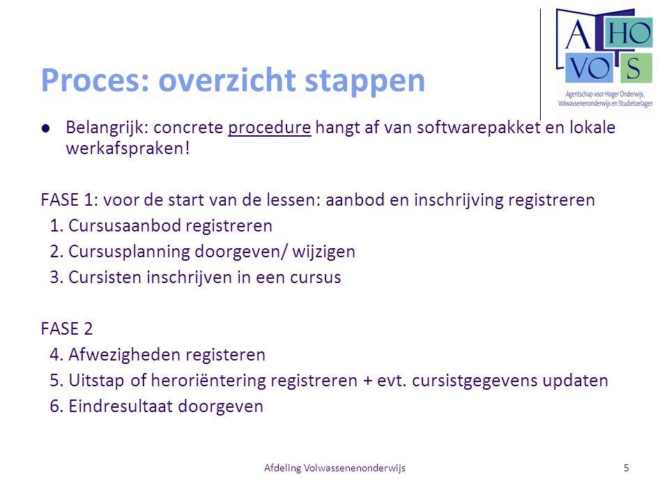 Afdeling Volwassenenonderwijs5 Proces: overzicht stappen Belangrijk: concrete procedure hangt af van softwarepakket en lokale werkafspraken! FASE 1: v