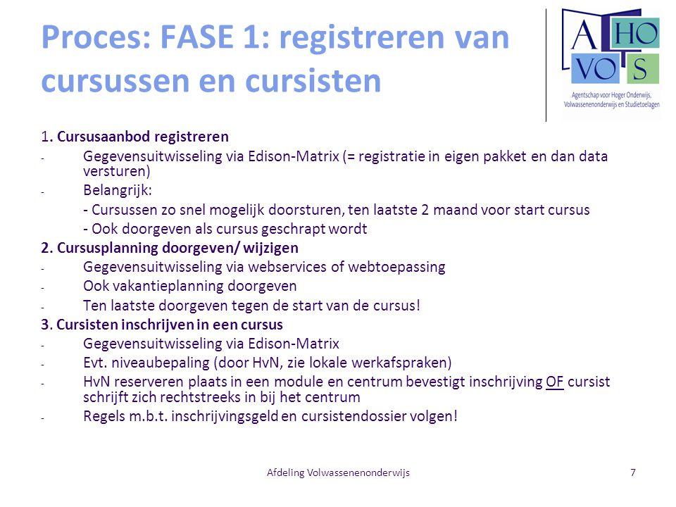 Afdeling Volwassenenonderwijs7 Proces: FASE 1: registreren van cursussen en cursisten 1. Cursusaanbod registreren - Gegevensuitwisseling via Edison-Ma