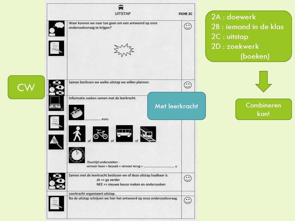 2A : doewerk 2B : iemand in de klas 2C : uitstap 2D : zoekwerk (boeken) Met leerkracht CW Combineren kan!