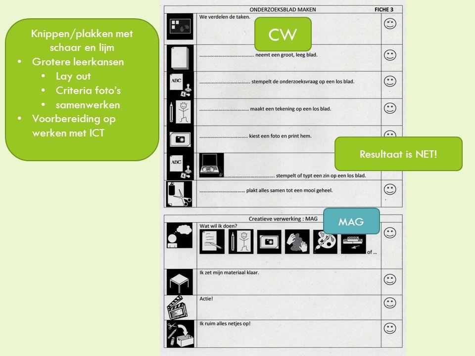 CW Knippen/plakken met schaar en lijm Grotere leerkansen Lay out Criteria foto's samenwerken Voorbereiding op werken met ICT MAG Resultaat is NET!