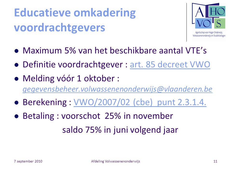 7 september 2010Afdeling Volwassenenonderwijs11 Educatieve omkadering voordrachtgevers Maximum 5% van het beschikbare aantal VTE's Definitie voordrachtgever : art.