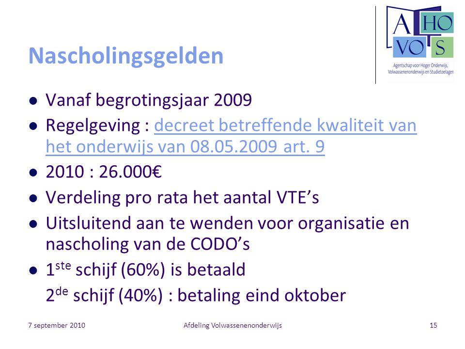 7 september 2010Afdeling Volwassenenonderwijs15 Nascholingsgelden Vanaf begrotingsjaar 2009 Regelgeving : decreet betreffende kwaliteit van het onderwijs van 08.05.2009 art.