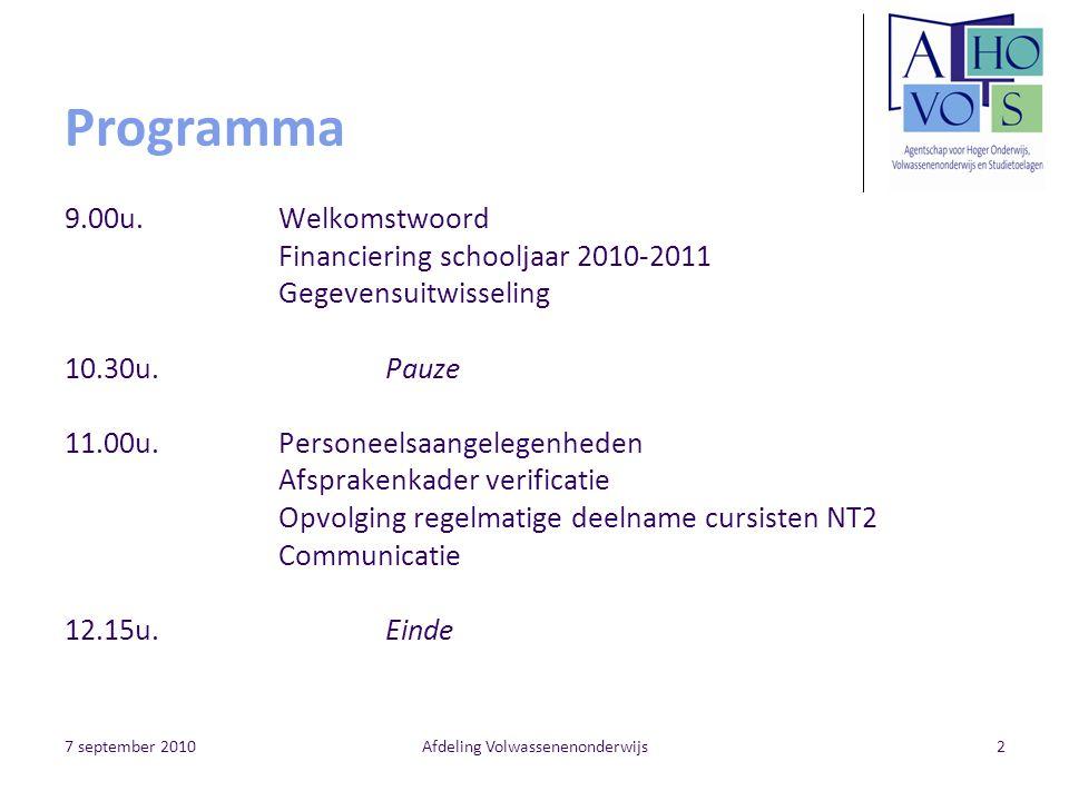 7 september 2010Afdeling Volwassenenonderwijs23 Edisonzendingen Wanneer zenden.