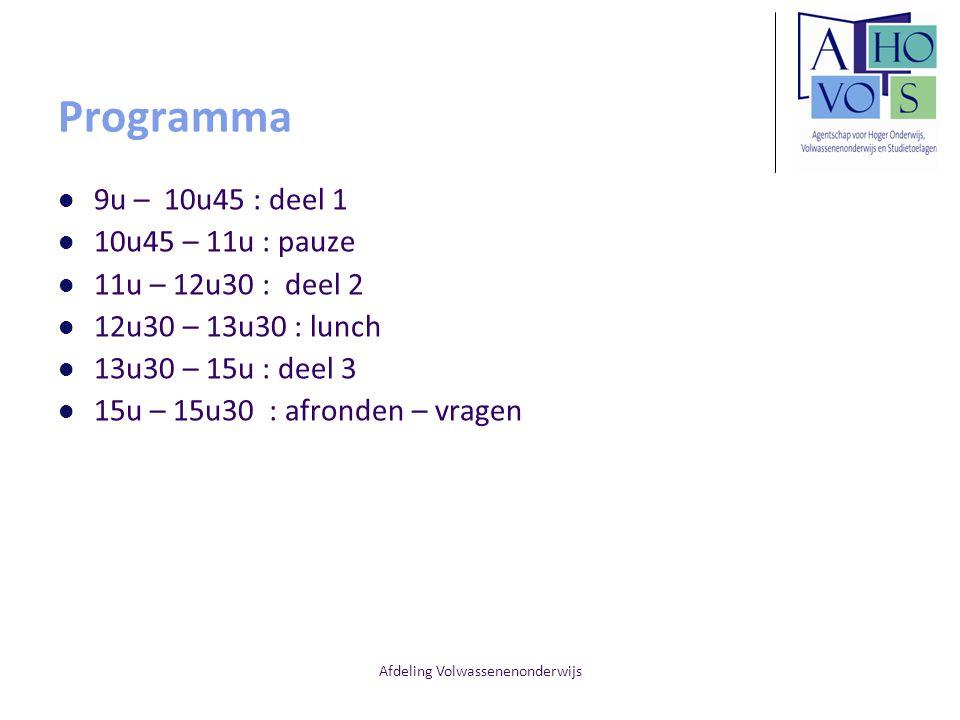 Afdeling Volwassenenonderwijs Programma 9u – 10u45 : deel 1 10u45 – 11u : pauze 11u – 12u30 : deel 2 12u30 – 13u30 : lunch 13u30 – 15u : deel 3 15u – 15u30 : afronden – vragen