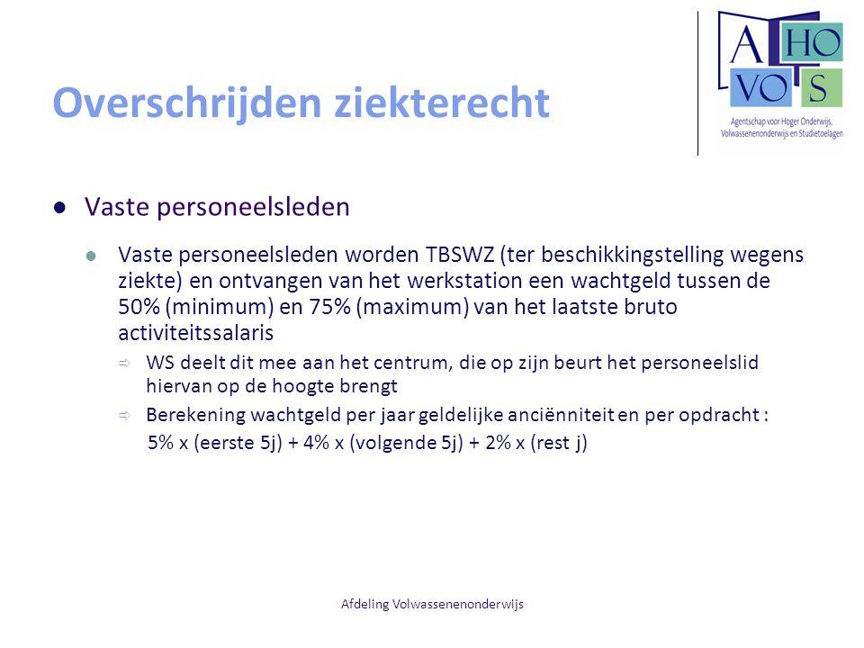 Afdeling Volwassenenonderwijs Overschrijden ziekterecht Vaste personeelsleden Vaste personeelsleden worden TBSWZ (ter beschikkingstelling wegens ziekt
