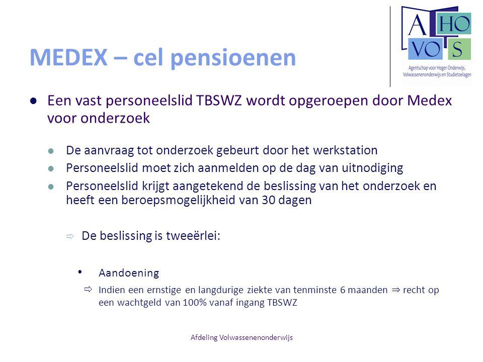 Afdeling Volwassenenonderwijs MEDEX – cel pensioenen Een vast personeelslid TBSWZ wordt opgeroepen door Medex voor onderzoek De aanvraag tot onderzoek