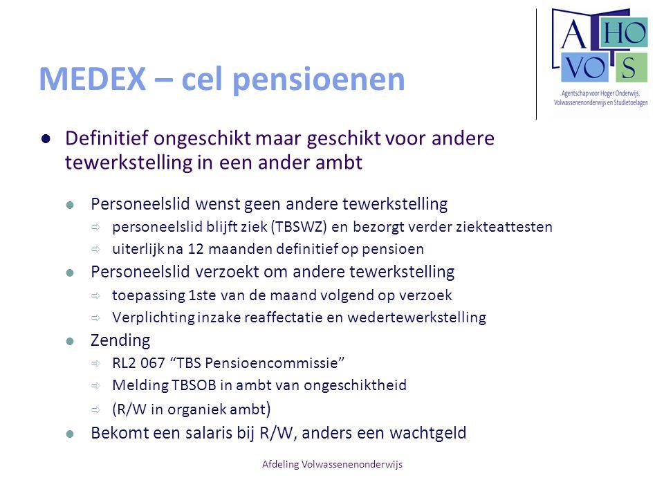 Afdeling Volwassenenonderwijs MEDEX – cel pensioenen Definitief ongeschikt maar geschikt voor andere tewerkstelling in een ander ambt Personeelslid we