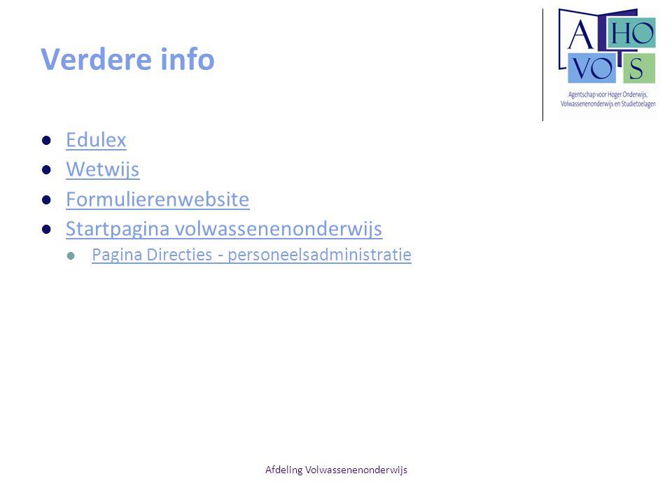 Afdeling Volwassenenonderwijs Verdere info Edulex Wetwijs Formulierenwebsite Startpagina volwassenenonderwijs Pagina Directies - personeelsadministrat