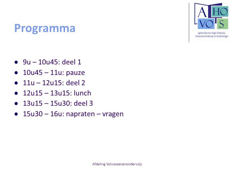 Afdeling Volwassenenonderwijs Programma 9u – 10u45: deel 1 10u45 – 11u: pauze 11u – 12u15: deel 2 12u15 – 13u15: lunch 13u15 – 15u30: deel 3 15u30 – 1
