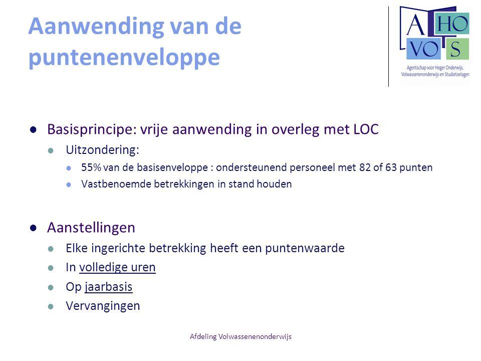 Afdeling Volwassenenonderwijs Aanwending van de puntenenveloppe Basisprincipe: vrije aanwending in overleg met LOC Uitzondering: 55% van de basisenvel