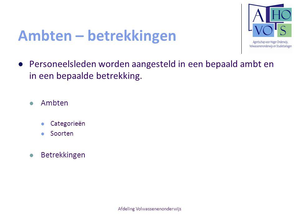Afdeling Volwassenenonderwijs Ambten – betrekkingen Personeelsleden worden aangesteld in een bepaald ambt en in een bepaalde betrekking. Ambten Catego