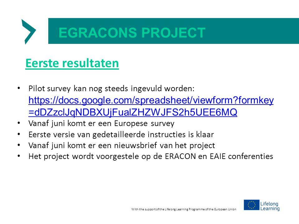 EGRACONS PROJECT Eerste resultaten Pilot survey kan nog steeds ingevuld worden: https://docs.google.com/spreadsheet/viewform formkey =dDZzclJqNDBXUjFualZHZWJFS2h5UEE6MQ https://docs.google.com/spreadsheet/viewform formkey =dDZzclJqNDBXUjFualZHZWJFS2h5UEE6MQ Vanaf juni komt er een Europese survey Eerste versie van gedetailleerde instructies is klaar Vanaf juni komt er een nieuwsbrief van het project Het project wordt voorgestele op de ERACON en EAIE conferenties With the support of the Lifelong Learning Programme of the European Union