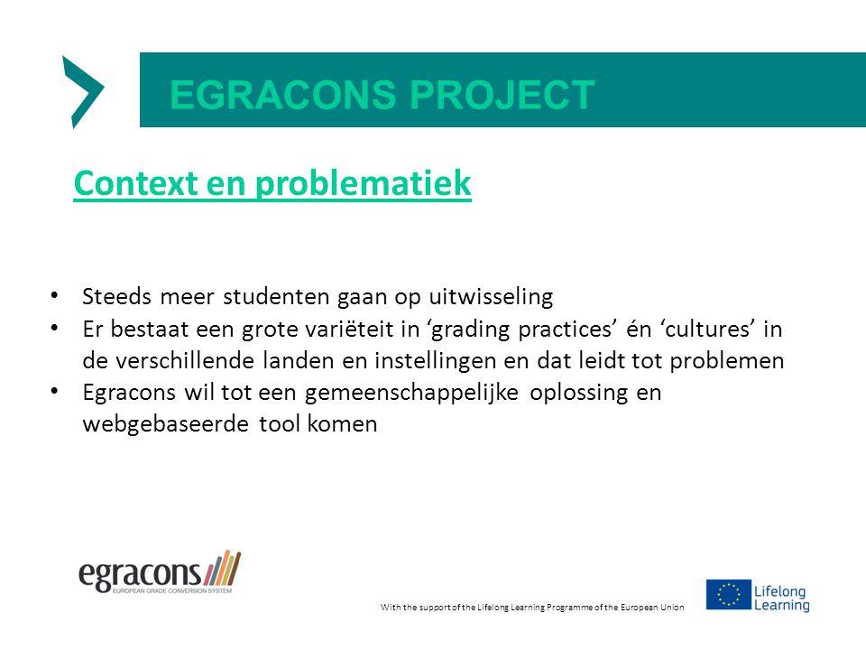 EGRACONS PROJECT Context en problematiek Steeds meer studenten gaan op uitwisseling Er bestaat een grote variëteit in 'grading practices' én 'cultures