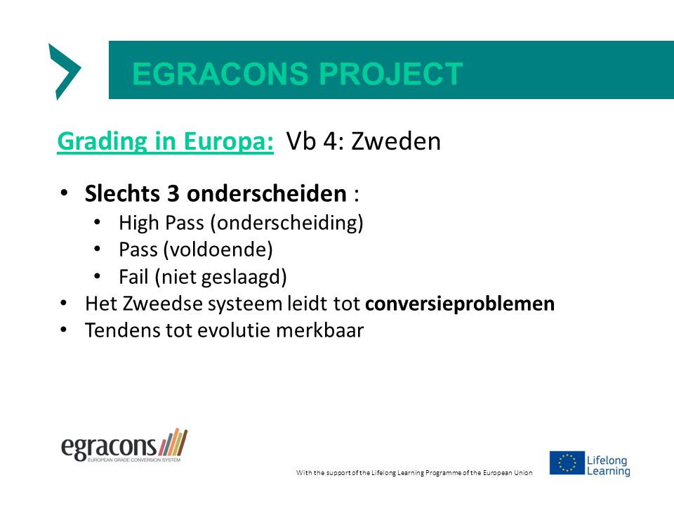 EGRACONS PROJECT Grading in Europa: Vb 4: Zweden Slechts 3 onderscheiden : High Pass (onderscheiding) Pass (voldoende) Fail (niet geslaagd) Het Zweedse systeem leidt tot conversieproblemen Tendens tot evolutie merkbaar With the support of the Lifelong Learning Programme of the European Union