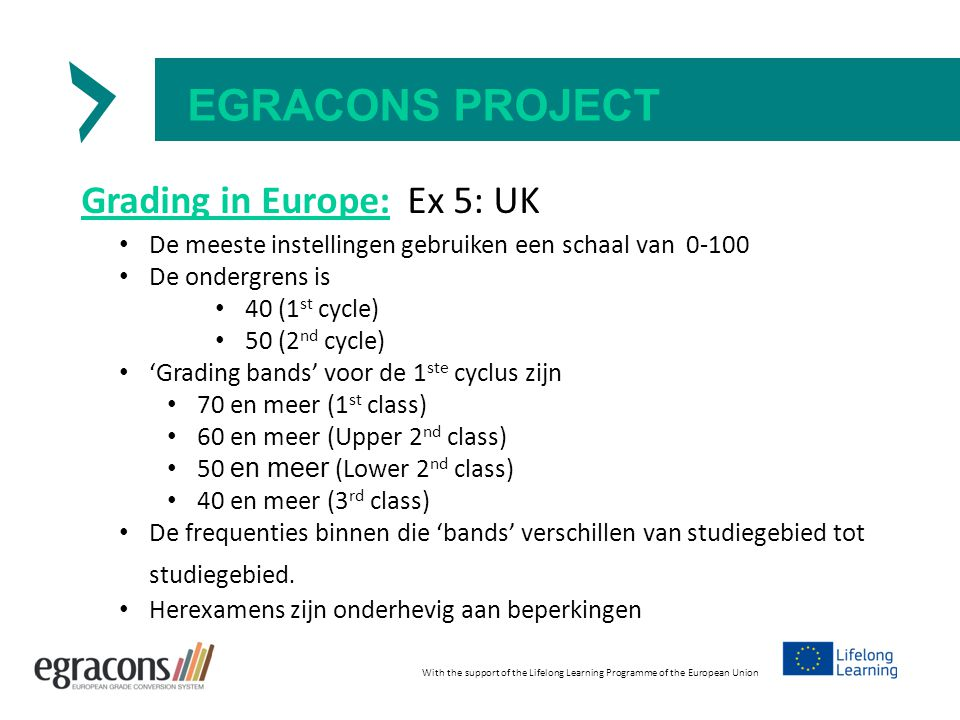 EGRACONS PROJECT Grading in Europe: Ex 5: UK With the support of the Lifelong Learning Programme of the European Union De meeste instellingen gebruike