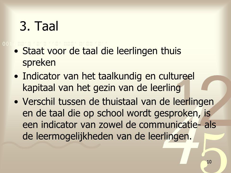 10 3. Taal Staat voor de taal die leerlingen thuis spreken Indicator van het taalkundig en cultureel kapitaal van het gezin van de leerling Verschil t