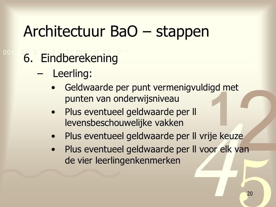 20 Architectuur BaO – stappen 6.Eindberekening –Leerling: Geldwaarde per punt vermenigvuldigd met punten van onderwijsniveau Plus eventueel geldwaarde