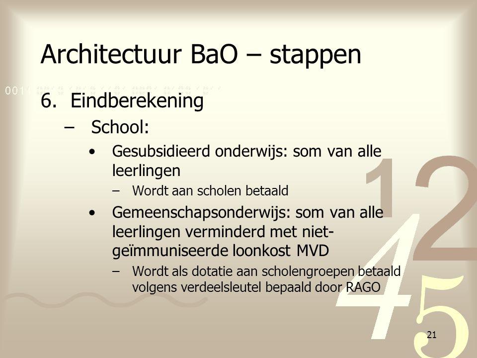 21 Architectuur BaO – stappen 6.Eindberekening –School: Gesubsidieerd onderwijs: som van alle leerlingen –Wordt aan scholen betaald Gemeenschapsonderw