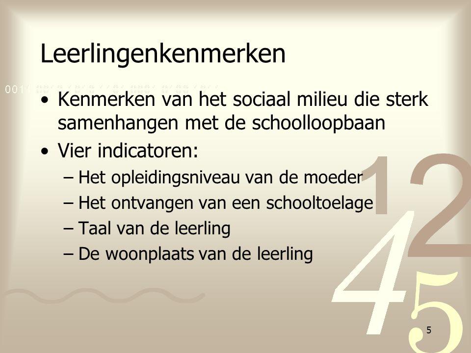5 Leerlingenkenmerken Kenmerken van het sociaal milieu die sterk samenhangen met de schoolloopbaan Vier indicatoren: –Het opleidingsniveau van de moed