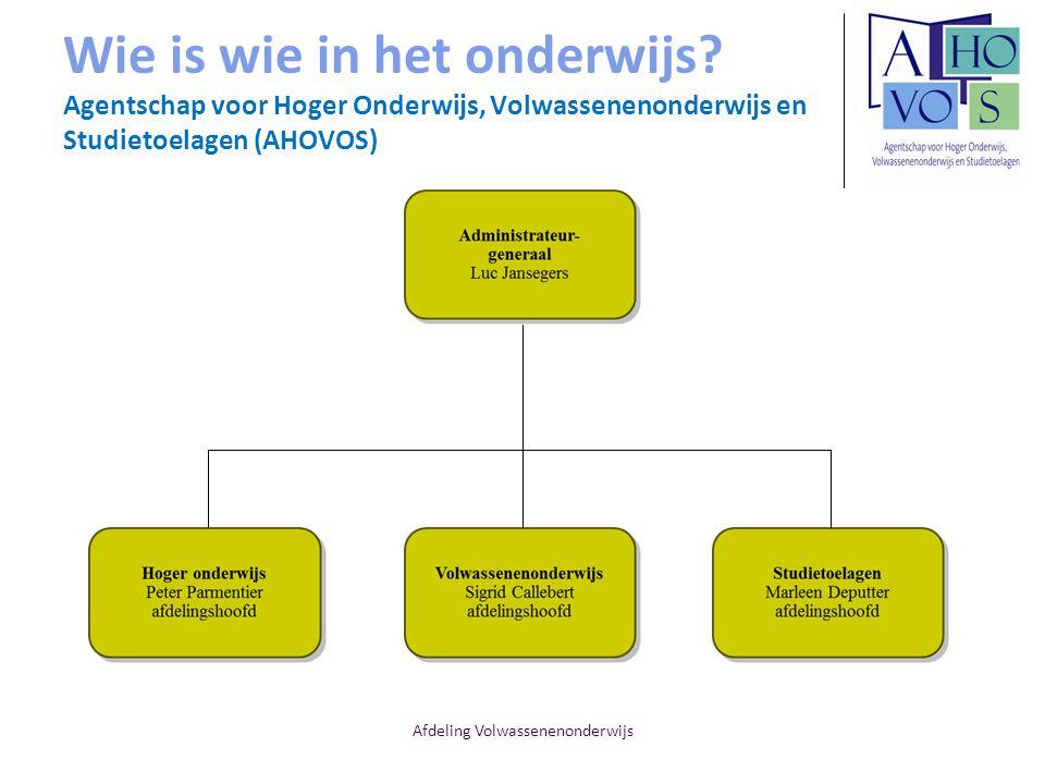 Afdeling Volwassenenonderwijs Wie is wie in het onderwijs? Agentschap voor Hoger Onderwijs, Volwassenenonderwijs en Studietoelagen (AHOVOS)