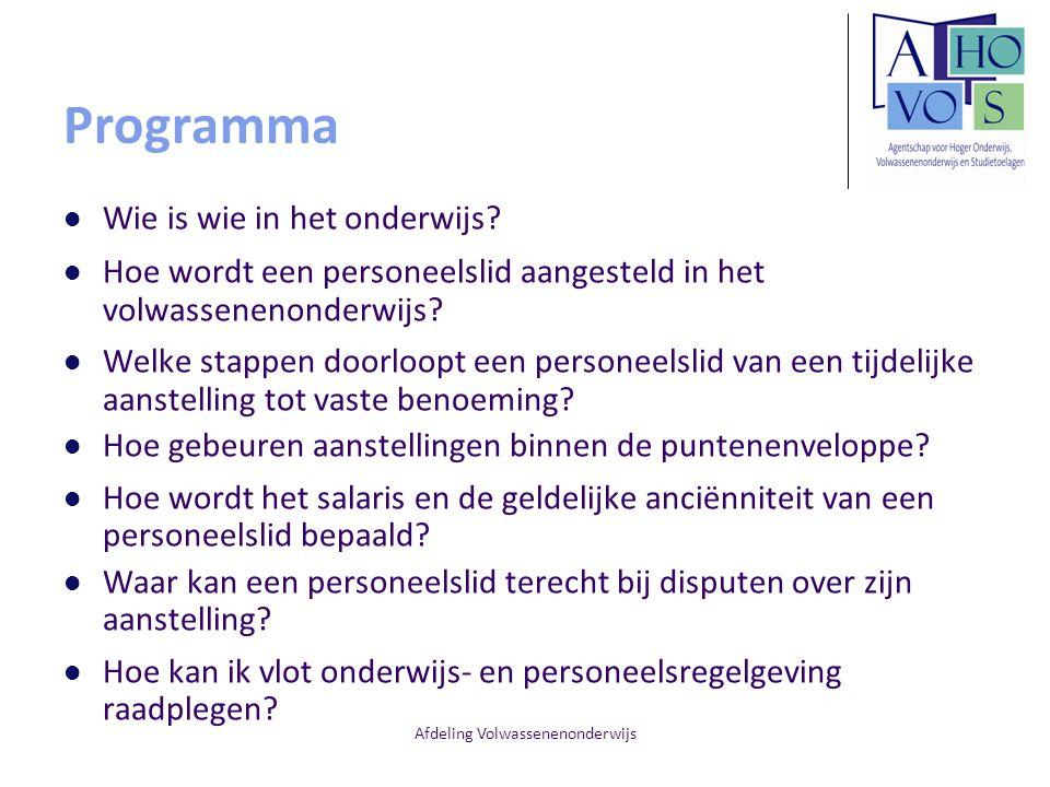Afdeling Volwassenenonderwijs Programma Wie is wie in het onderwijs.