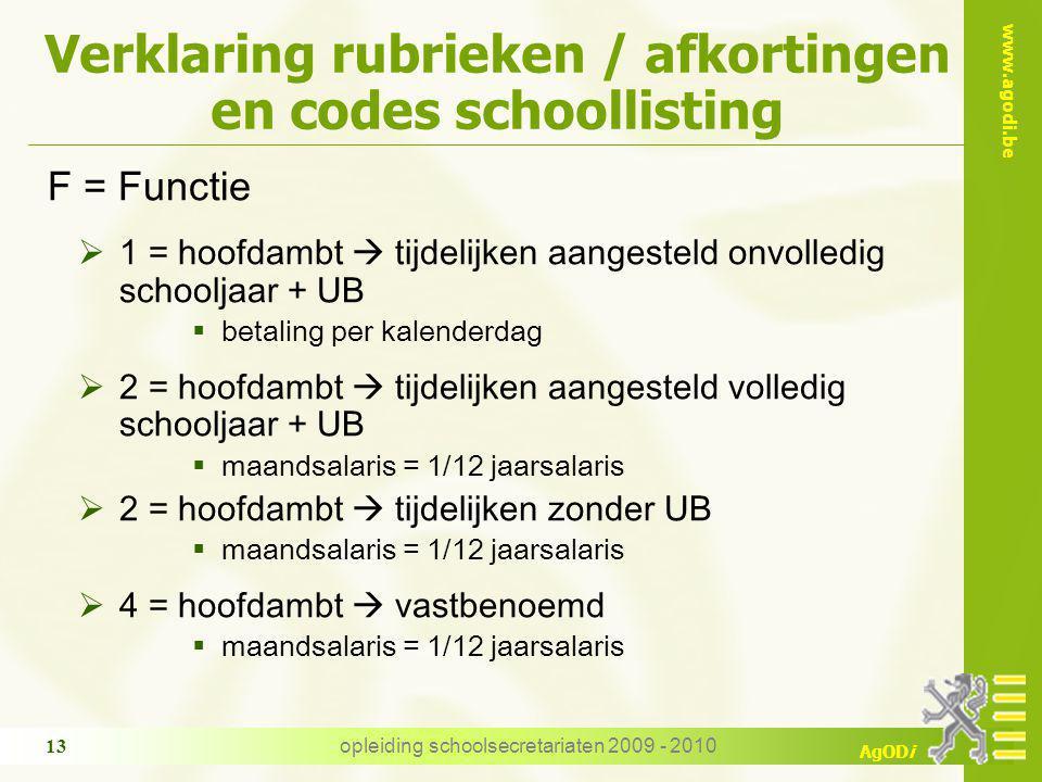 www.agodi.be AgODi opleiding schoolsecretariaten 2009 - 2010 13 Verklaring rubrieken / afkortingen en codes schoollisting F = Functie  1 = hoofdambt