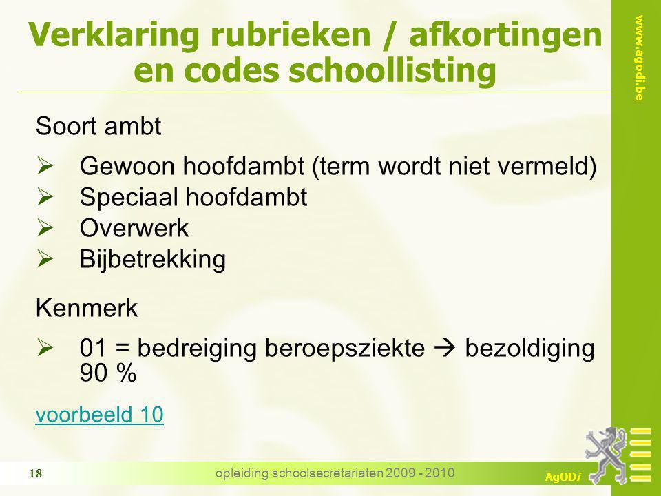 www.agodi.be AgODi opleiding schoolsecretariaten 2009 - 2010 18 Verklaring rubrieken / afkortingen en codes schoollisting Soort ambt  Gewoon hoofdamb