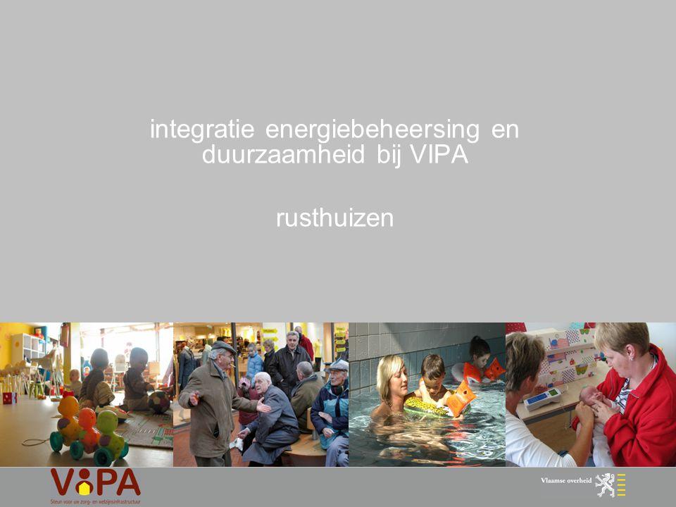 22 duurzaamheidscriteria VIPA 2.1 K35 & U-waarden eis > installatie : toepassing huidige eisen omzendbrief 2.2 eisen productie en distributie verwarming eis 2.3 eisen ventilatie eis > gebouwschil : toepassing huidige eisen omzendbrief > EPI –studie : analyse bestaande rusthuizen > aansluitend op EPB > sectorspecifieke invulling > EPI-studie : bepaling kader 2.4 distributie warm water eis
