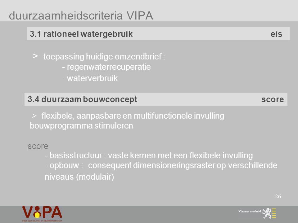26 duurzaamheidscriteria VIPA 3.1 rationeel watergebruik eis > toepassing huidige omzendbrief : - regenwaterrecuperatie - waterverbruik 3.4 duurzaam bouwconcept score > flexibele, aanpasbare en multifunctionele invulling bouwprogramma stimuleren - basisstructuur : vaste kernen met een flexibele invulling - opbouw : consequent dimensioneringsraster op verschillende niveaus (modulair) score
