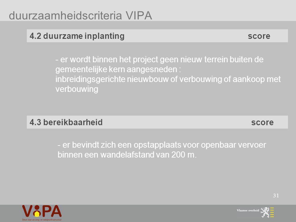 31 duurzaamheidscriteria VIPA 4.2 duurzame inplanting score - er wordt binnen het project geen nieuw terrein buiten de gemeentelijke kern aangesneden : inbreidingsgerichte nieuwbouw of verbouwing of aankoop met verbouwing 4.3 bereikbaarheid score - er bevindt zich een opstapplaats voor openbaar vervoer binnen een wandelafstand van 200 m.