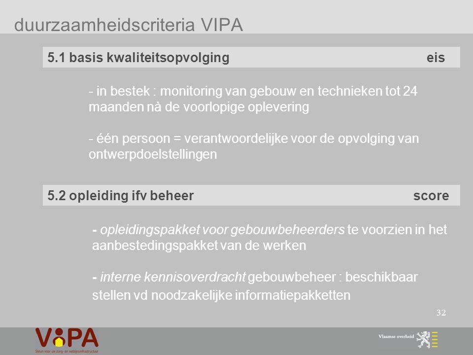 32 duurzaamheidscriteria VIPA 5.1 basis kwaliteitsopvolging eis 5.2 opleiding ifv beheer score - in bestek : monitoring van gebouw en technieken tot 24 maanden nà de voorlopige oplevering - één persoon = verantwoordelijke voor de opvolging van ontwerpdoelstellingen - opleidingspakket voor gebouwbeheerders te voorzien in het aanbestedingspakket van de werken - interne kennisoverdracht gebouwbeheer : beschikbaar stellen vd noodzakelijke informatiepakketten