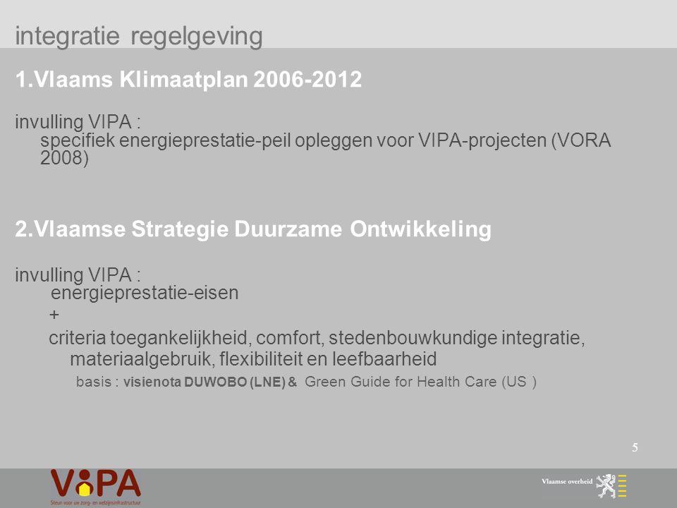 5 1.Vlaams Klimaatplan 2006-2012 invulling VIPA : specifiek energieprestatie-peil opleggen voor VIPA-projecten (VORA 2008) 2.Vlaamse Strategie Duurzame Ontwikkeling invulling VIPA : energieprestatie-eisen + criteria toegankelijkheid, comfort, stedenbouwkundige integratie, materiaalgebruik, flexibiliteit en leefbaarheid basis : visienota DUWOBO (LNE) & Green Guide for Health Care (US ) integratie regelgeving