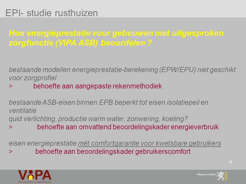 30 duurzaamheidscriteria VIPA - multidisciplinair bouwteam vanaf het begin ontwerpproces om de duurzaamheidsdoelstellingen bij ontwerp en uitvoering te garanderen - doorheen het ontwerp- en bouwproces wordt een programma van eisen als leidraad gebruikt 4.1 geïntegreerde ontwerp eis > verhoging subsidie algemene kosten : 7 % >>>> 10% eis