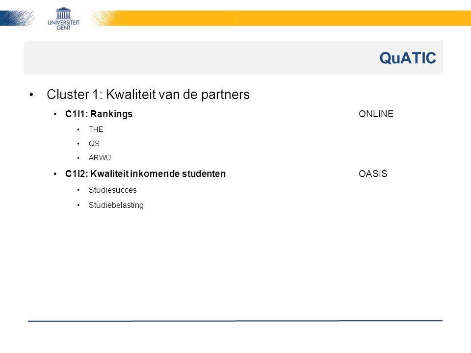 Cluster 1: Kwaliteit van de partners C1I1: RankingsONLINE THE QS ARWU C1I2: Kwaliteit inkomende studentenOASIS Studiesucces Studiebelasting QuATIC