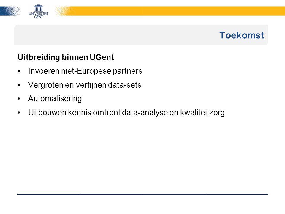 Uitbreiding binnen UGent Invoeren niet-Europese partners Vergroten en verfijnen data-sets Automatisering Uitbouwen kennis omtrent data-analyse en kwaliteitzorg Toekomst