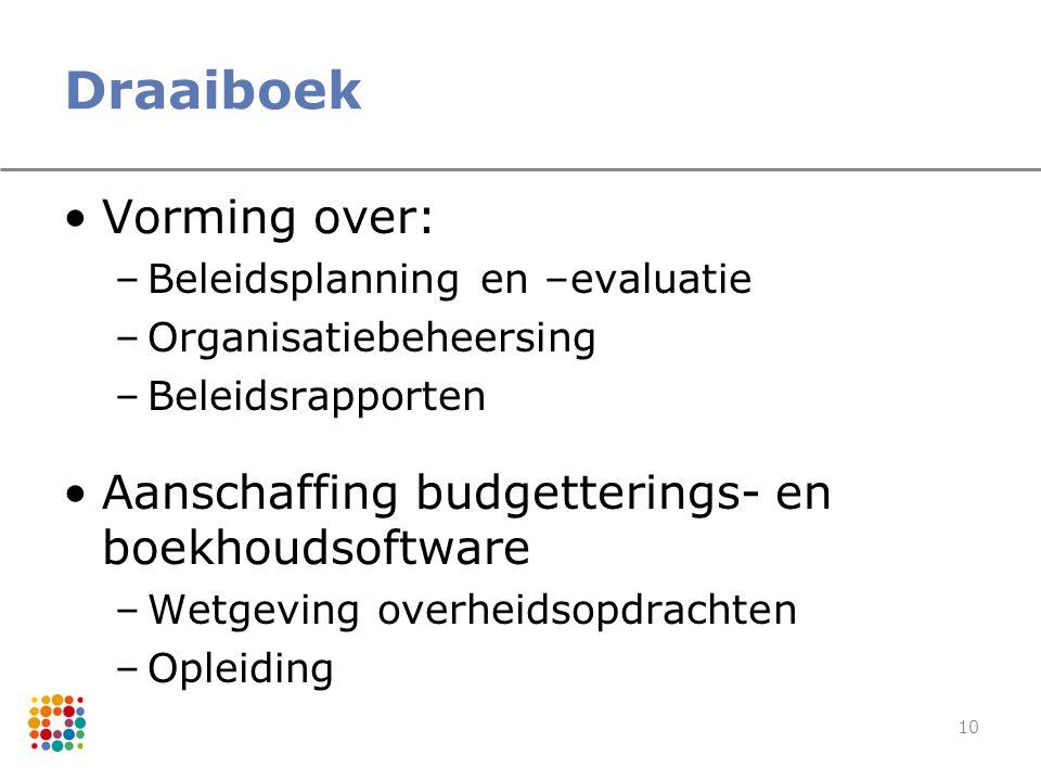 10 Draaiboek Vorming over: –Beleidsplanning en –evaluatie –Organisatiebeheersing –Beleidsrapporten Aanschaffing budgetterings- en boekhoudsoftware –We
