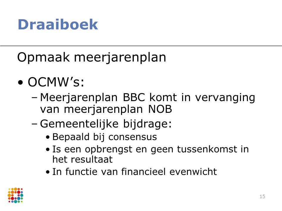 15 Draaiboek Opmaak meerjarenplan OCMW's: –Meerjarenplan BBC komt in vervanging van meerjarenplan NOB –Gemeentelijke bijdrage: Bepaald bij consensus I