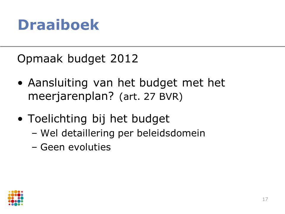 17 Draaiboek Opmaak budget 2012 Aansluiting van het budget met het meerjarenplan? (art. 27 BVR) Toelichting bij het budget –Wel detaillering per belei