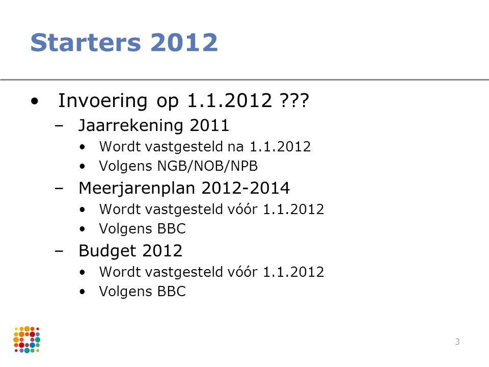 3 Starters 2012 Invoering op 1.1.2012 ??? –Jaarrekening 2011 Wordt vastgesteld na 1.1.2012 Volgens NGB/NOB/NPB –Meerjarenplan 2012-2014 Wordt vastgest