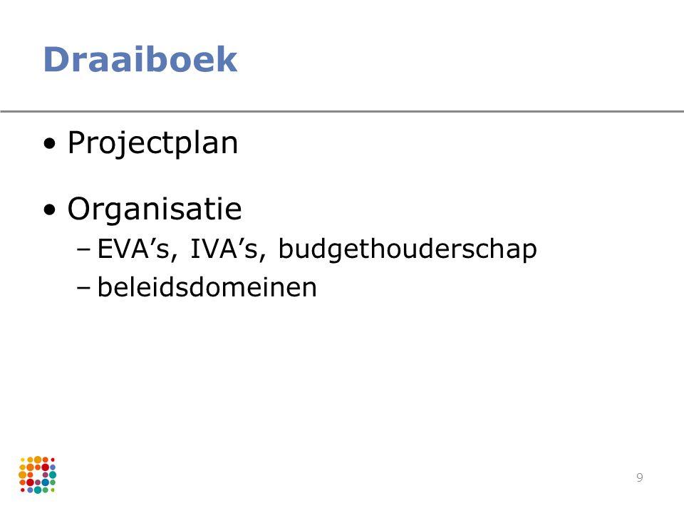 9 Draaiboek Projectplan Organisatie –EVA's, IVA's, budgethouderschap –beleidsdomeinen