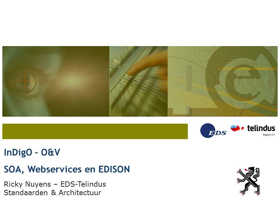 InDigO – O&V SOA, Webservices en EDISON Ricky Nuyens – EDS-Telindus Standaarden & Architectuur