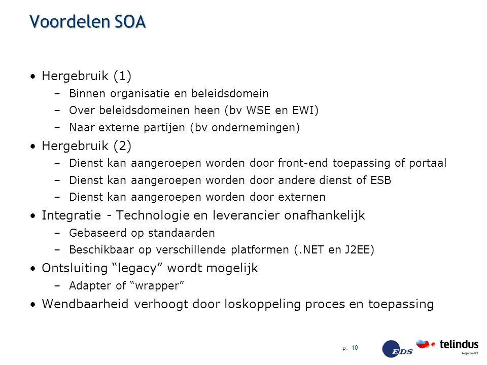 p. 10 Voordelen SOA Hergebruik (1) –Binnen organisatie en beleidsdomein –Over beleidsdomeinen heen (bv WSE en EWI) –Naar externe partijen (bv ondernem