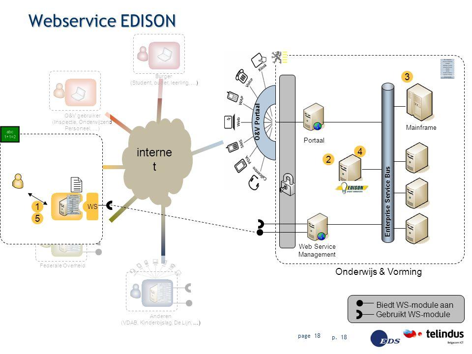 p. 18 page 18 Webservice EDISON interne t Onderwijs & Vorming O&V Portaal Burger (Student, ouder, leerling, …) O&V gebruiker (Inspectie, Onderwijzend