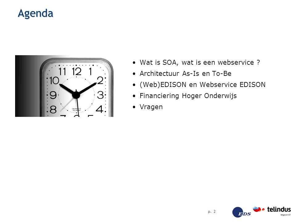 p. 2 Agenda Wat is SOA, wat is een webservice ? Architectuur As-Is en To-Be (Web)EDISON en Webservice EDISON Financiering Hoger Onderwijs Vragen