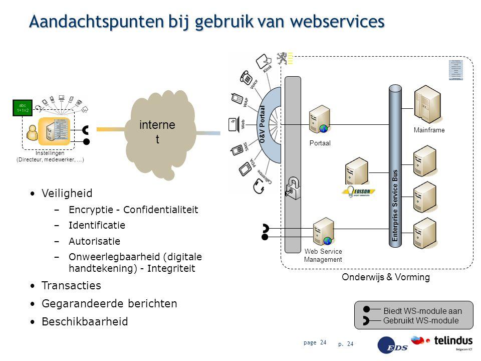 p. 24 page 24 interne t Aandachtspunten bij gebruik van webservices Onderwijs & Vorming O&V Portaal Biedt WS-module aan Gebruikt WS-module Mainframe E