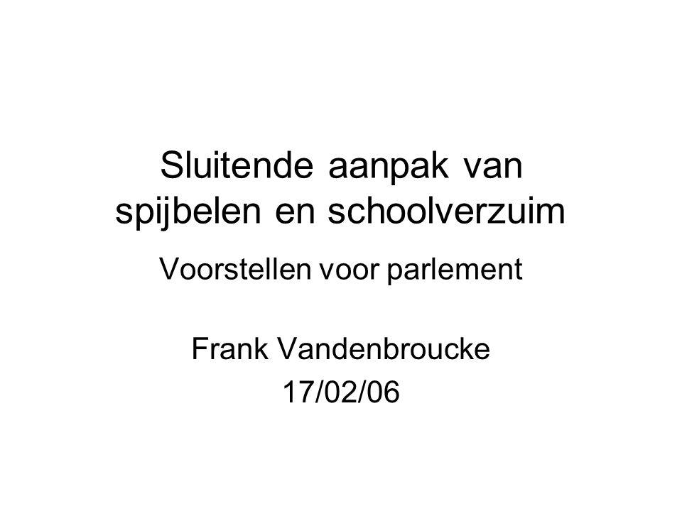Sluitende aanpak van spijbelen en schoolverzuim Voorstellen voor parlement Frank Vandenbroucke 17/02/06