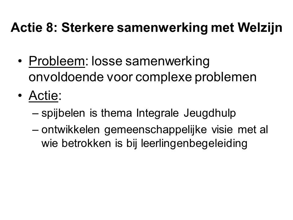 Actie 8: Sterkere samenwerking met Welzijn Probleem: losse samenwerking onvoldoende voor complexe problemen Actie: –spijbelen is thema Integrale Jeugd