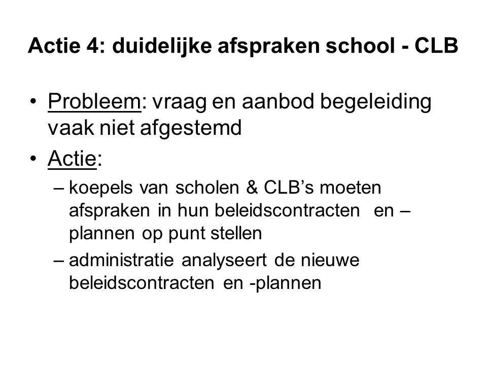 Actie 4: duidelijke afspraken school - CLB Probleem: vraag en aanbod begeleiding vaak niet afgestemd Actie: –koepels van scholen & CLB's moeten afspra