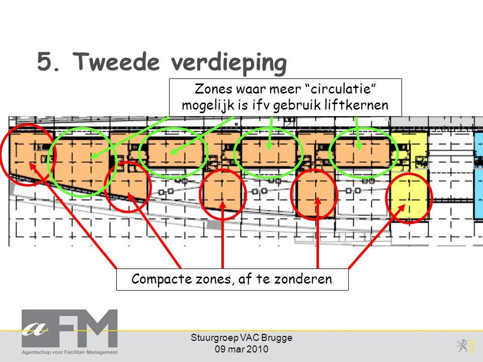 """Stuurgroep VAC Brugge 09 mar 2010 5. Tweede verdieping Compacte zones, af te zonderen Zones waar meer """"circulatie"""" mogelijk is ifv gebruik liftkernen"""